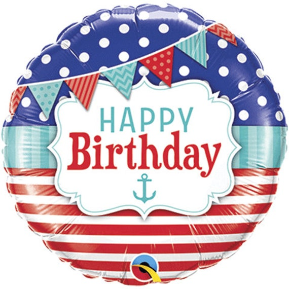 Nautical Happy Birthday Balloon Package Anchor Balloons Straws