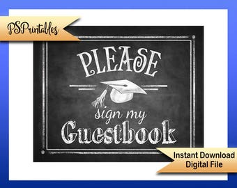 2017 Graduation Guestbook Sign, Sign my guestbook, graduation Sign, Chalkboard Graduation, grad party decor, DIY grad party, Grad party sign