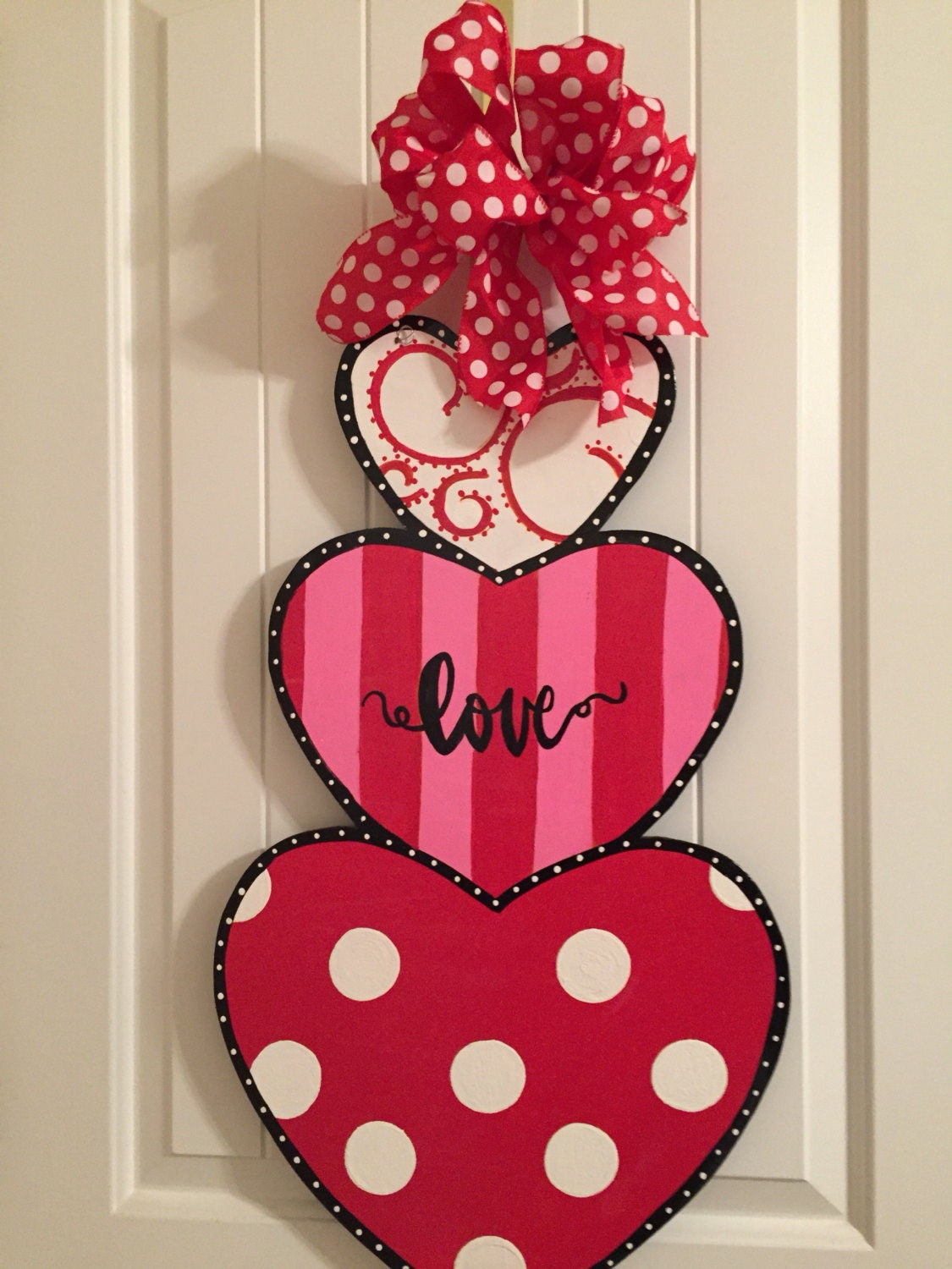valentine door hanger valentine wreath stacked hearts heart door hanger valentine decor valentine door decor