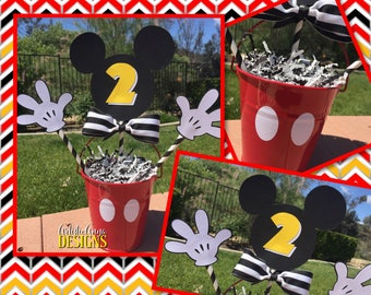 Mickey Mouse Centerpieces - Striped Bow Tie & Red Metal Pails (Set of 5) - Red Yellow Black White - Oh Twodles