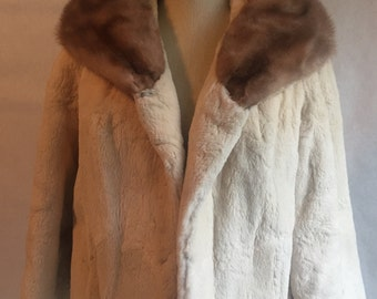 Vintage Sheared Beaver with Mink Collar Jacket