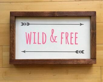 Framed Wild & Free Wood Sign, Tribal Nursery, Girl Nursery, Boy Nursery