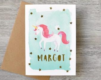 Personalised Unicorn Paper Cut Greeting Card