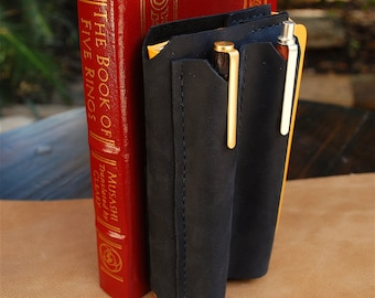 Leather Notebook cover with dual pen sleeve, fits Field Notes, Moleskine 3.5x5.5, pen case, slide on pen sleeve