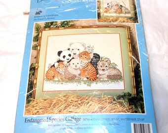 "Candamar designs Endangered species collage 50766 counted cross stitch kit 18"" x 14"" Carol Bryan animals the fraser collection needlecrafts"