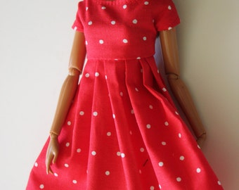 11.5 inch doll clothes red polkadot  dress