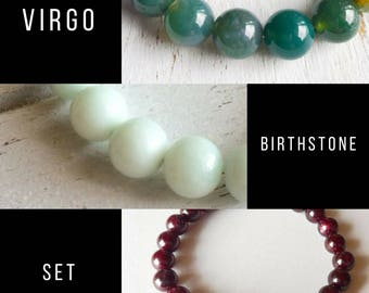Virgo Bracelet Set, Amazonite, Garnet, Moss Agate, Intention Jewelry, Gift Set, Bracelet Set, Yoga Jewelry, Genuine Gemstones