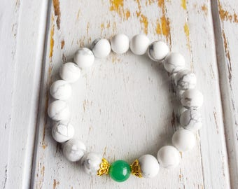 Manifest Peace & Prosperity, White Howlite, Aventurine, Healing Jewelry, Intention Bracelet, Yoga Jewelry, Mala Beads, Intention Jewelry