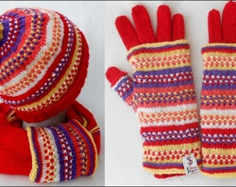 Knitted set = cap + loop + double gloves