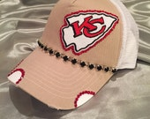 Kansas City Chiefs Football Team, Bling Hat, Sports Hats, Womens Hat, Sworovski Crystal Hat, Red Hats