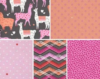 Michael Miller Packmates in Pink ~ BUNDLE ~ Fat Quarter or Half Yard ~ Cute Llamas Children's Fabric