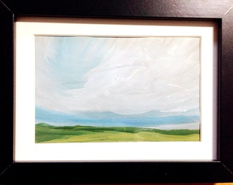 Clouds No. 3, an original abstract landscape painting on paper, with gouache paints, unframed