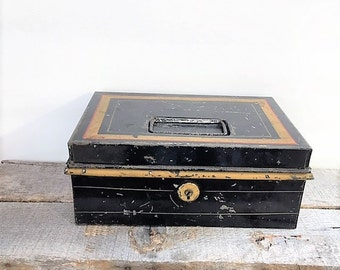 Vintage Metal Cash Box or Storage Container Black and Gold Rustic Decor