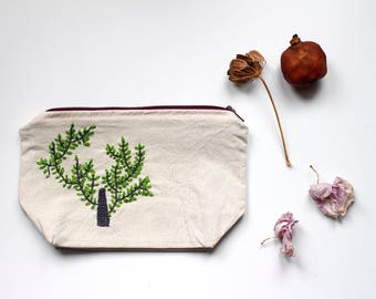 Embroidered cosmetic bag medium sized tree
