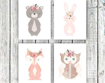Nursery Art Printables, Woodland Nursery, Baby Girl, Floral Wreathes, Set of 4 8x10s #589