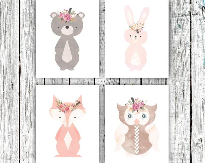 Nursery Art Printables, Woodland Nursery, Baby Girl, Floral Wreathes, Set of 4 8x10s #589