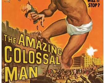 "Vintage Horror Science Fiction Movie Poster Print, 1957, The Amazing Colossal Man, PMSF 11"" x 14"""