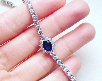 Gemstone Sterling Silver Bracelet With Cubic Zirconia, Bridal Jewelry, Wedding Bracelet