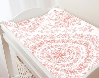 Carousel Designs Light Coral Floral Damask Changing Pad Cover