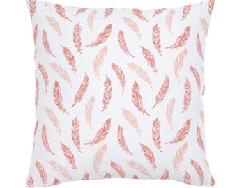 Light Coral and Peach Hand Drawn Feathers Throw Pillow by Carousel Designs. Made in the USA.