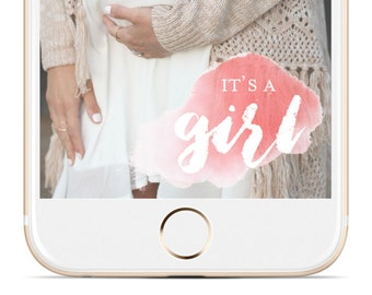 INSTANT SNAPCHAT DOWNLOAD | It's a Girl Watercolor Baby Shower Geofilter | Instant Download