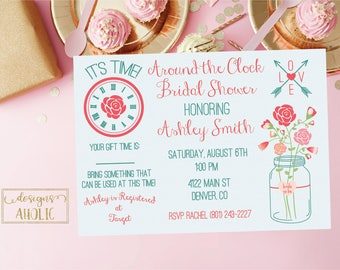 Around the Clock Bridal Shower Invitation Printable