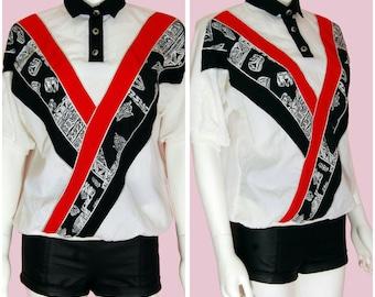 Vintage 90s Top Red Black & White Retro Pattern Shirt Medium