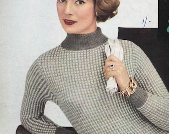 Lady's Check Stitch Sweater, PDF Vintage Knitting Pattern No. 486