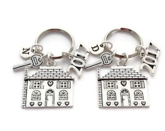 New Home Keyrings, Couples Housewarming Gift, Set of 2 Keychains, New Beginning 2017, Present for Clients, Thank You Realtor, House Closing