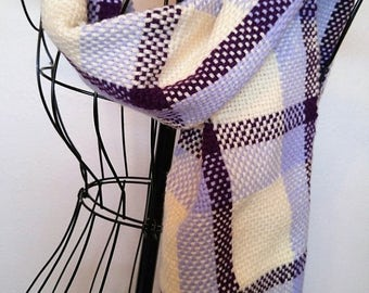 Purple Hand woven scarf-handwoven scarf-woven scarf-purple scarf- hand woven- handmade-woven cowl-handwoven cowl-winter scarf-handmade scarf