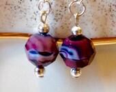 Lampwork Dangle Earrings, Amethyst Drop Earrings, Amethyst Swirl Earrings, Round Earrings,Purple Earrings, Lampwork Earrings, Shiny Earrings