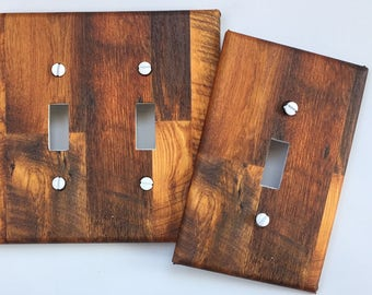 Rustic wood light Switch Plate Cover // brown image // SAME DAY SHIPPING**
