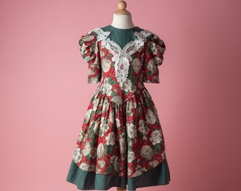 Vintage Scarlet Red And Pine Green Chrysanthemum Floral Victorian Dress (Girls Size 7/8)