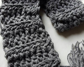 Crochet Luxe Gray Scarf
