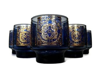 Mid Century Bar Glasses, Blue, Gold Rocks Glasses, Whiskey, Old Fashioned Glasses, Elcyda
