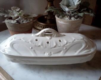 Antique Ceramic Razor Dish,  BOCH la Louvière - Belgium. Ironstone. Stone ware dish. Collector's Item. Dating from the 1930s