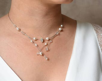 Bridal necklace ideal dress v-neck, slim and refined - wedding jewelry