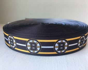 "1/3/5/7/10 Yards Boston Bruins 7/8"" Grosgrain Ribbon"
