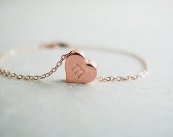 Initial Heart Bracelet, Everyday Bracelet, Rose Gold Bracelet, Big Sister, Simple Bracelet, Personalised, Custom Gift, Delicate, Cute, Thin