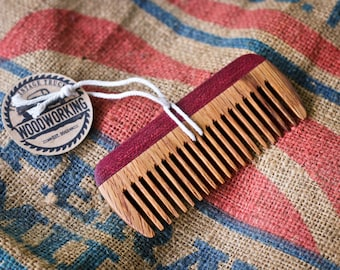 Wooden Comb - Reclaimed Oak & PurpleHeart
