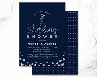 Couples Shower Invitation, Printable Couple Wedding Shower Invitation, Couples Shower Invite _ CPS17_09 Navy & Silver