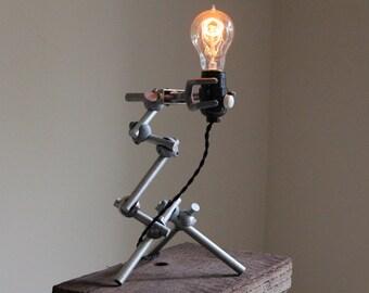Modern Industrial lamp steampunk elegant articulating studio desk light, chemistry science gift, fully adjustable lab clamps Edison bulb