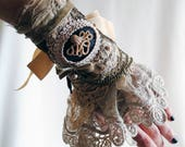RESERVED for xoroya1-Steampunk Lace Wrist Cuff with Octopus Cameo,Rococo Lace Wrist Wrap, Beige and Brown Victorian Cuff-Ready to Ship