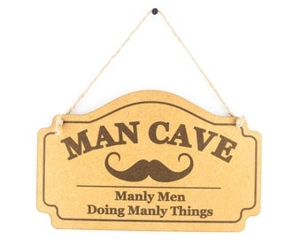 Man cave sign - manly men doing manly things funny wooden sign - mancave gift for men - shed sign