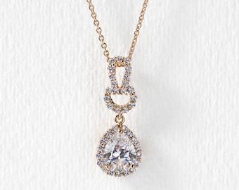 Gold Wedding Necklace, Wedding Pendant Jewelry Gold, Bridal Accessories, Bridal Jewelry Pendant Necklace, Gold Bridal Jewelry N530G