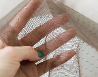 Polyester Mesh Fabric 2 mm Polka Dot Brown