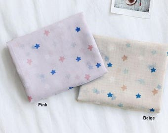 Gauze Fabric Star in 2 Colors By The Yard