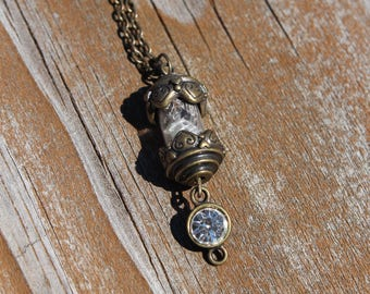 Antique Look Vial Necklace with Snakeskin and Gold Leaf