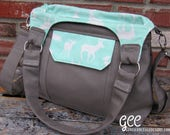 Concealed Carry Purse, Concealed Carry Purses,  Solid Gray w/ Mint-White Deer Sillhouettes, Made in MO, USA