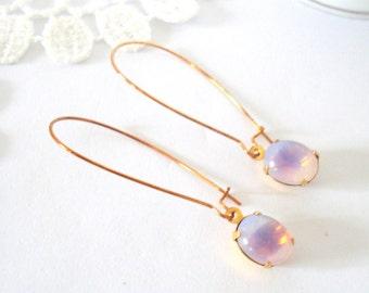 Lavender White Opal Earrings, Long Dangle Earrings, Vintage Jewel Earrings, Rhinestone Earrings